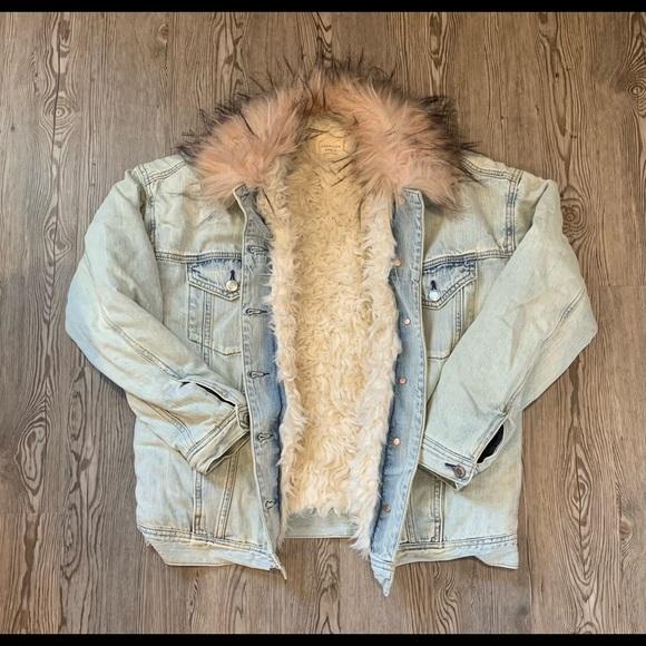 Fur lined denim jacket with pink trim